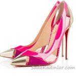 Topuklu Ayakkabı Modelleri Fuşya Ön Kısmı Gold Yanları Açık
