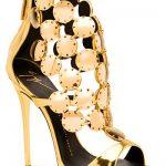Topuklu Ayakkabı Modelleri Gold Yuvarlak Metal Arkadan Fermuarlı