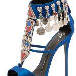 Topuklu Ayakkabı Modelleri Mavi Kemerli Metal Süslemeli