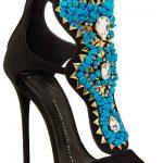 Topuklu Ayakkabı Modelleri Siyah Bilekten Tokalı Mavi Taş Süslü