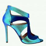 Topuklu Ayakkabı Modelleri Turkuaz Mavi ve Lacivert Arkadan Fermuarlı