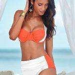 Yüksel Bel Bikini Modelleri Beyaz Ve Yavruağzı Kalın Askılı