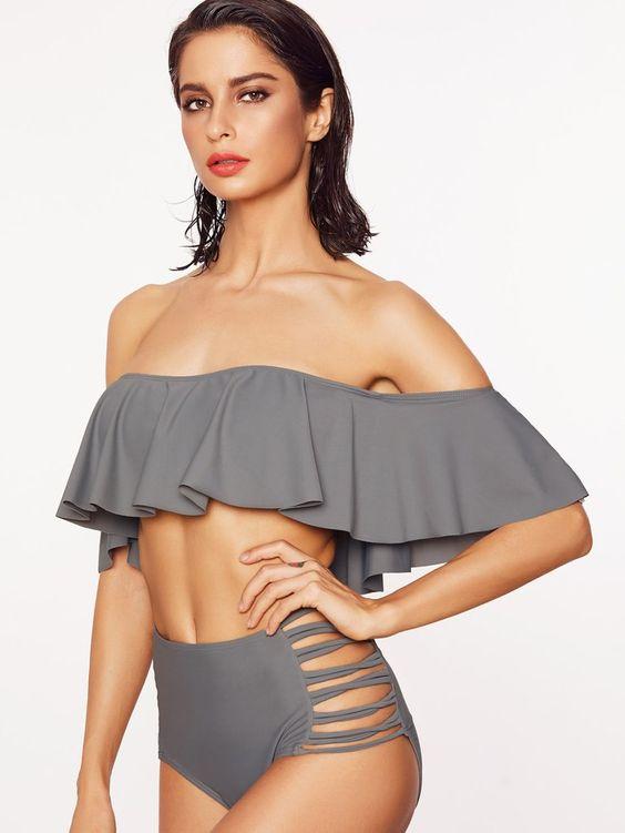 Yüksel Bel Bikini Modelleri Gri Straplez Fırfırlı Yaka Çapraz Bağcıklı