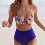Yüksel Bel Bikini Modelleri Saks Mavi İp Askılı Üstü Desenli