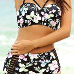 Yüksel Bel Bikini Modelleri Siyah İp Askılı Yandan Kesik çizgili