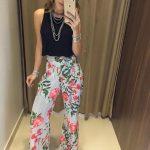 Çiçekli Pantolon Modelleri Gri Salaş Çizgili Desenli