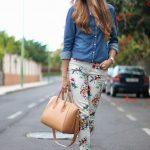 Çiçekli Pantolon Modelleri Krem Dar Kesim Cepli