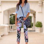 Çiçekli Pantolon Modelleri Siyah Capri cepli