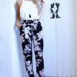 Çiçekli Pantolon Modelleri Siyah Cepli Bilekten Lastikli