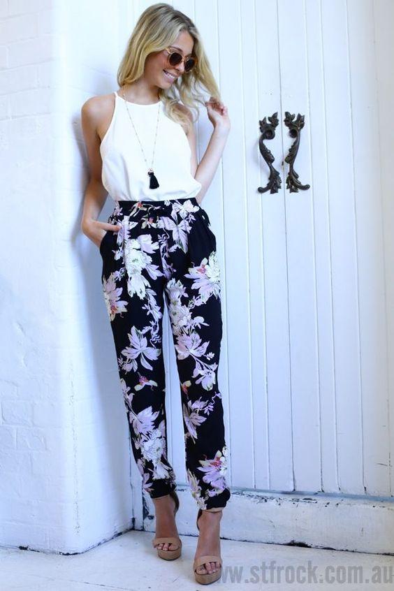Son Moda Yaz Trendi Çiçekli Pantolon Kombinleri 2021