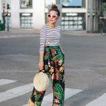Çiçekli Pantolon Modelleri Siyah Cepli Kumaş Kemerli