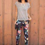 Çiçekli Pantolon Modelleri Siyah Dar Kesim