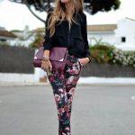 Çiçekli Pantolon Modelleri Siyah Dar Kesim Cep Detaylı