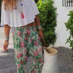 Çiçekli Pantolon Modelleri Yeşil Şalvar Tipi Beli Lastikli