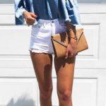 Şort Kombinleri Beyaz Kısa Şort Mavi Omzu Açık Düşük Kol Gömlek