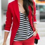 Şort Kombinleri Kırmızı Kısa Şort Çizgili Bluz Kırmızı Spor Ceket