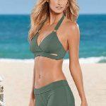 Şortlu Bikini Modelleri Haki Çapraz Yaka Metal Askılı Şık