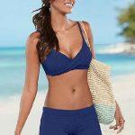 Şortlu Bikini Modelleri Lacivert İp Askılı Sarma Yakalı