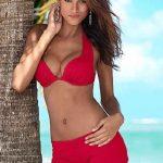 Şortlu Bikini Modelleri Nar Çiçeği Kalın Askılı Göğüs Dekolteli