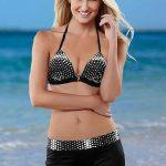 Şortlu Bikini Modelleri Siyah İp Askılı Beyaz Desenli