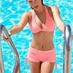 Şortlu Bikini Modelleri Yavruağzı Kalın Askılı Bağcıklı