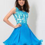 2018 Balo Elbiseleri Mavi Kısa Kolsuz Kloş Etek Nakış İşlemeli