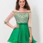 2018 Balo Elbiseleri Yeşil Kısa Omzu Açık Düşük Uzun Kol Taş İşlemeli