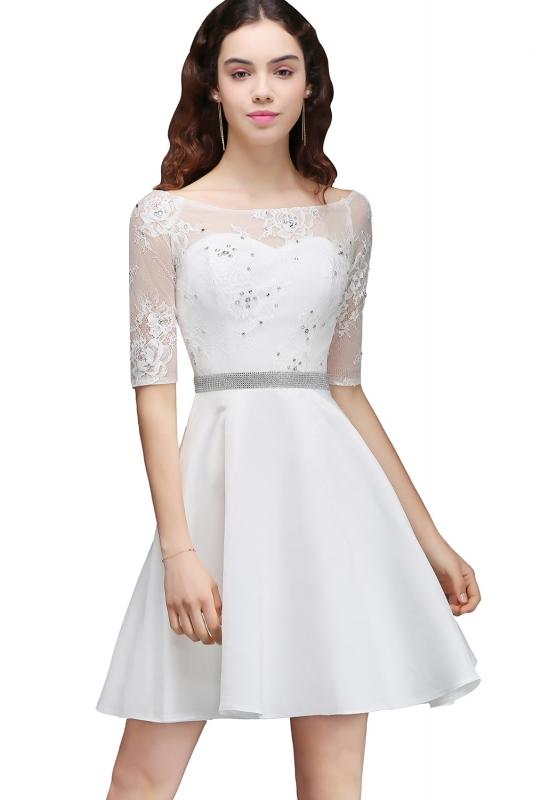2018 Mezuniyet Elbiseleri Beyaz Kısa Kayık Yaka Yetim Kol Transparan Tül Detaylı