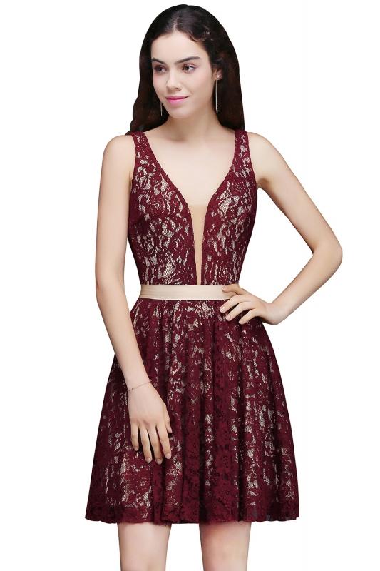 5948973d33498 2018 Mezuniyet Elbiseleri Bordo Kısa V Yakalı Kalın Askılı Güpür Dantelli. «