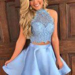2018 Mezuniyet Elbiseleri Mavi Kısa İki Parça Göbek Açık Halter Yaka Dantelli