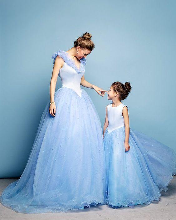 Anne Kız Kıyafetleri Bebek Mavisi Uzun Kolsuz V Yakalı Tül Etek