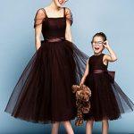 Anne Kız Kıyafetleri Kahverengi Midi Kısa Tül Kol Kare Yakalı Kloş Tül Etek