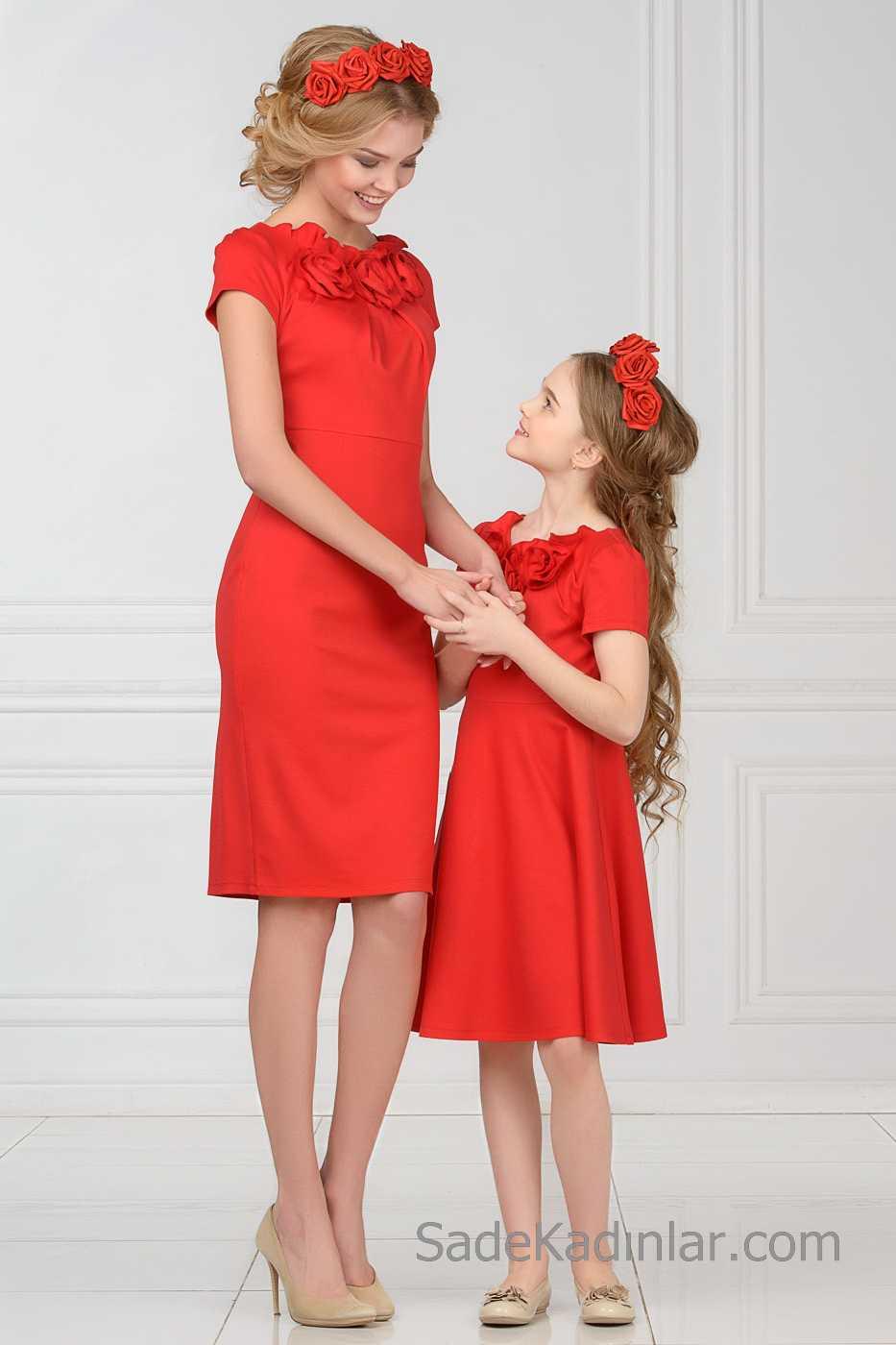 Anne Kız Elbise Kıyafet Kombinleri 2019