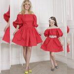 Anne Kız Kıyafetleri Kırmızı Kısa Omzu Açık Düşük Balon Kol Kloş Etekli