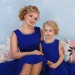 Anne Kız Kıyafetleri Saks Mavi Kısa Kolsuz Yuvarlak Yaka Taş İşlemeli