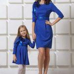 Anne Kız Kıyafetleri Saks Mavi Kısa Uzun Kollu Yakasında Kurdela Aksesuarlı