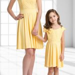 Anne Kız Kıyafetleri Sarı Kısa Japone Kol Kayık Yaka Omzunda Kurdela Fiyonklu Dantelli