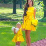 Anne Kız Kıyafetleri Sarı Kısa Kolsuz Kloş Etek Kurdela Fiyonk Aksesuarlı