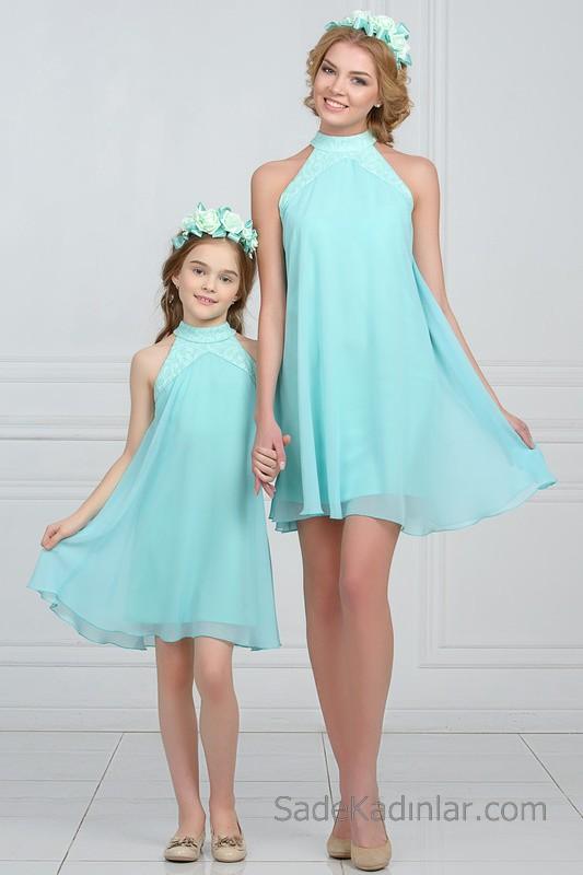 Anne Kız Kıyafetleri Su Yeşili Kısa Halter Yaka Tül İşlemeli