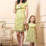 Anne Kız Kıyafetleri Yeşil Kısa Kalp Yakalı Kısas Kollu Güpürlü