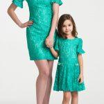 Anne Kız Kıyafetleri Yeşil Kısa Yuvarlak Yaka Kısa Fırfırlı Kol Dantel