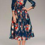 Basma Elbise Modelleri Lacivert Midi Yetim Kol Desenli