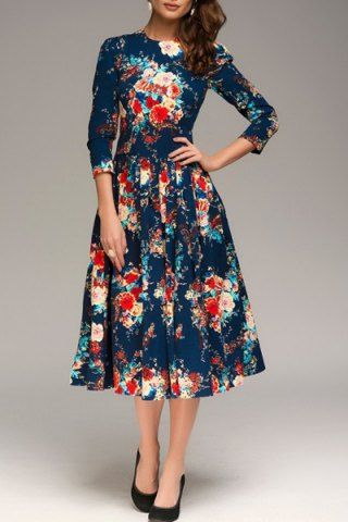 2020 Uzun Basma Elbiseler Günlük Lacivert Midi Yetim Kol Desenli