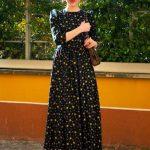 Basma Elbise Modelleri Siyah Uzun Yetim Kol Desenli