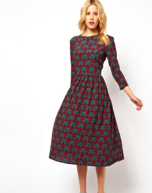 2020 Uzun Basma Elbiseler Günlük Tarçın Dizaltı Yarım Kol Kayık Yaka Desenli