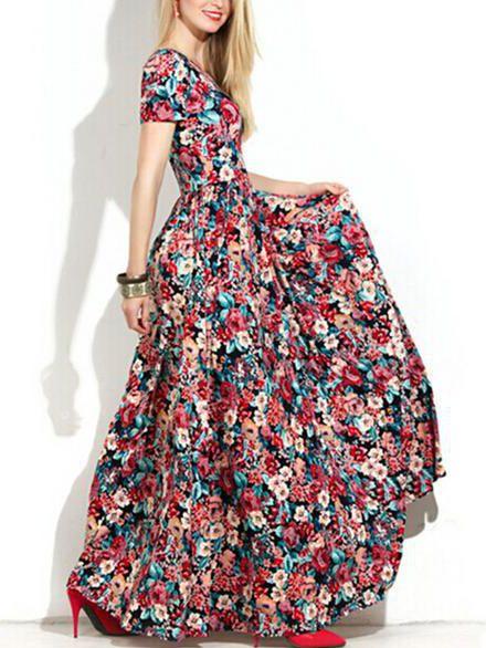 Basma Elbise Modelleri Tarçın Uzun Kısa Kollu Kloş Etekli Desenli