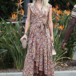 Basma Elbise Modelleri Turuncu Uzun Kolsuz V Yakalı Desenli
