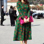 Basma Elbise Modelleri Yeşil Midi Uzun Kollu Kayık Yaka Çiçek Desenli