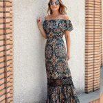 Basma Elbise Modelleri Yeşil Omzu Açık Fırfırlı Yaka Düşük Kol Desenli