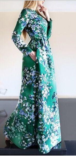 2020 Uzun Basma Elbiseler Günlük Yeşil Uzun Yuvarlak Yaka Uzun Kollu Desenli